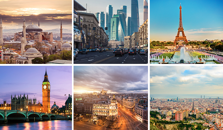 Top cities in Europe